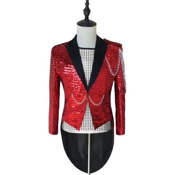 Sequins clothes men tuxedo suits designs homme terno stage costumes for singers red jacket mens blazer dance star style punk