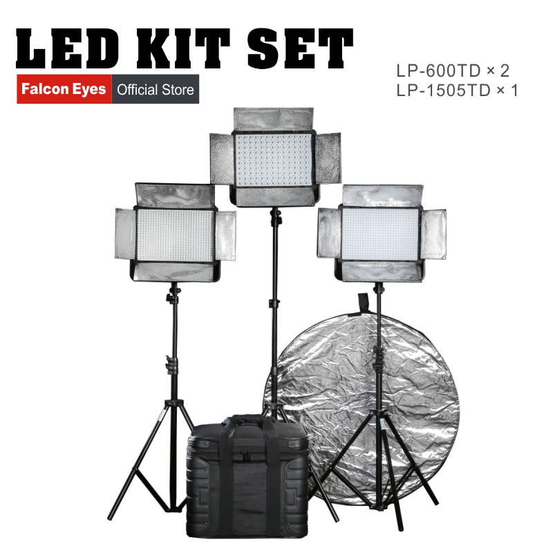 Falcon eyes LP-1505TD+ LP-600TD*2 Professional LED studio light Video Panel Lighting Lights Kit for Studio Interview Photography