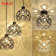 Современный светодиодный потолочный светильник с кристаллами, Потолочные Подвесные лампы, люстры для кухни, лампы E27