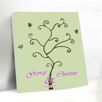 Chic Canvas Fingerprint Tree with Butterfly Wedding Guestbook Custom Unique Signature Guest Book for Graduation Birthday Party