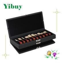 Yibuy Black PU Leather 2 Layers Bassoon Reed Box Case Hold 20pcs Bassoon Reed