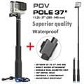 Go Pro Accesorios 37 ''Extensible Handheld Monopod Poste Telescópico POV Palo w/wifi remoto clip holder para gopro hero 5 4 3 + 3