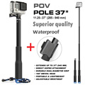 Go Pro Accessories 37'' Extendable Handheld POV Pole Telescopic Monopod Stick w/ Wifi Remote Holder Clip for GoPro Hero 5 4 3+ 3
