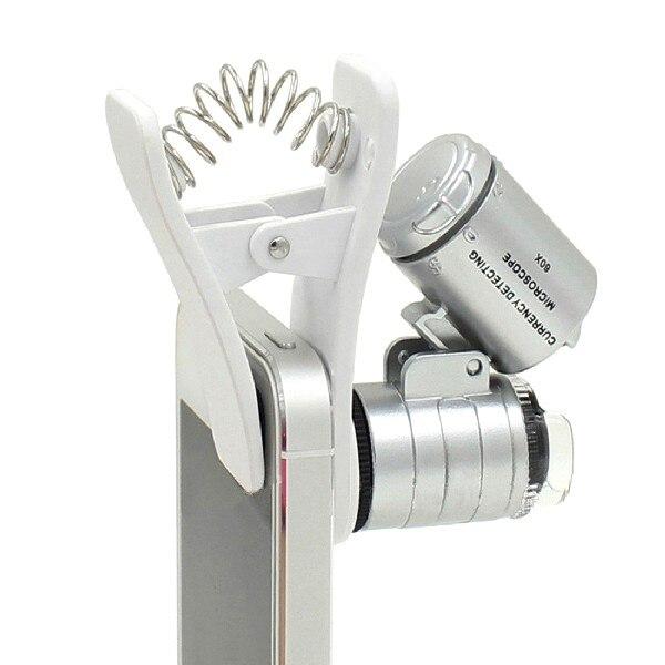 Увеличительные очки 1 шт. универсальные 3 светодиода Клип Мобильный телефон микроскоп Лупа микро объектив 60X оптический зум телескоп объект...
