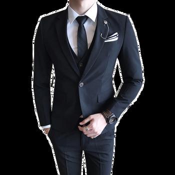 2019 men's blazers British style high-end boutique business solid color slim suit jacket 3 sets (suit + pants + vest)