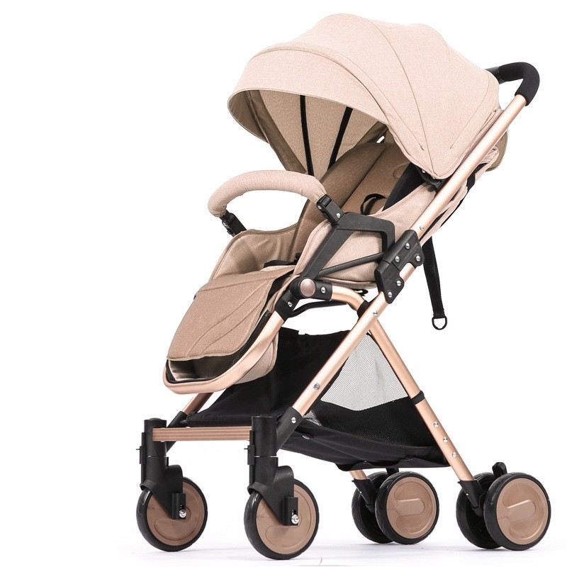 Luxury Linen Baby Stroller Ultra Light Portable High Landscape Folding Baby Carriage Travel Baby Trolley beamon baby stroller division ultra portable dual purpose umbrella car high landscape