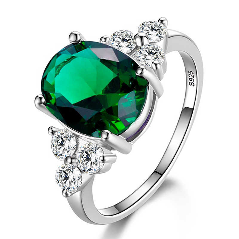 Women's Rings 925 Sterling Silver Jewelry Ring With Oval Cut AAAAA Royal Blue Red Emerald Green Olive Zircon Ring Wedding Gifts