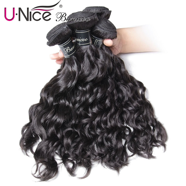 $ US $37.50 UNice Hair Banicoo Series 10A Natural Wave Peruvian Hair 1/3/4 Bundles Human Hair Weaving Natural Color 8-26