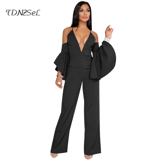 a8761a2554cf2b Women Sexy Butterfly Sleeve Spaghetti Strap Long Jumpsuit Elegant Deep V  Backless Wide Leg Pants Overalls Black Red Blue Rompers