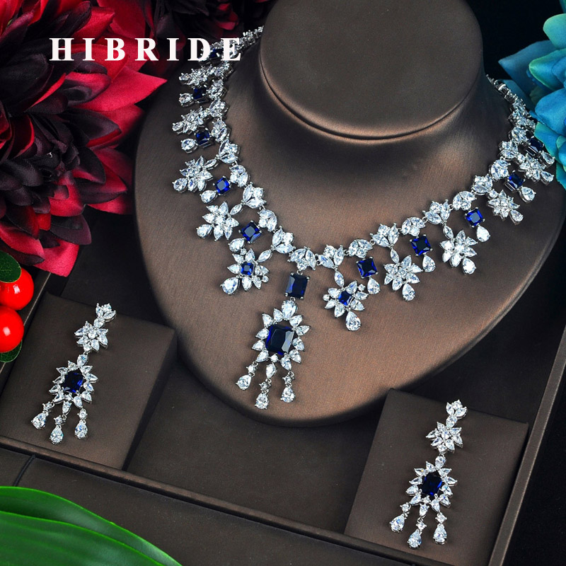 HIBRIDE Luxury Clear And Blue Full Cubic Zircon Pendientes Jewelry Set Cluster Tassel Brincos Bijoux Party Necklace Set N-630 hibride luxury new butterfly shape earring necklace jewelry set women party jewelry small link pendant brincos bijoux n 643