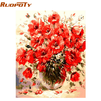 Фоторамка RUOPOTY с красными цветами, DIY Цифровая живопись по номерам, настенное художественное изображение, ручная работа, акриловая краска по номерам для художественных работ