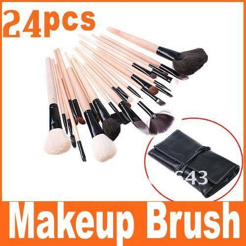 Big discount 24 pcs Best Seller Makeup Brush + Black Leather Case, Free Shipping