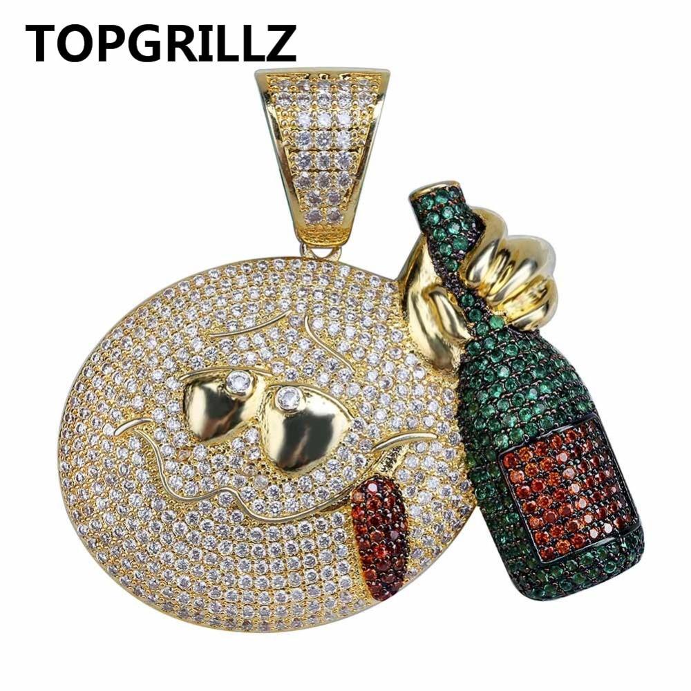 TOPGRILLZ Hip Hop Shiny Emoji With Wine Bottle Pendant Necklace Men Jewelry Gold Color Cubic Zircon 4MM Necklaces Tennis Chain