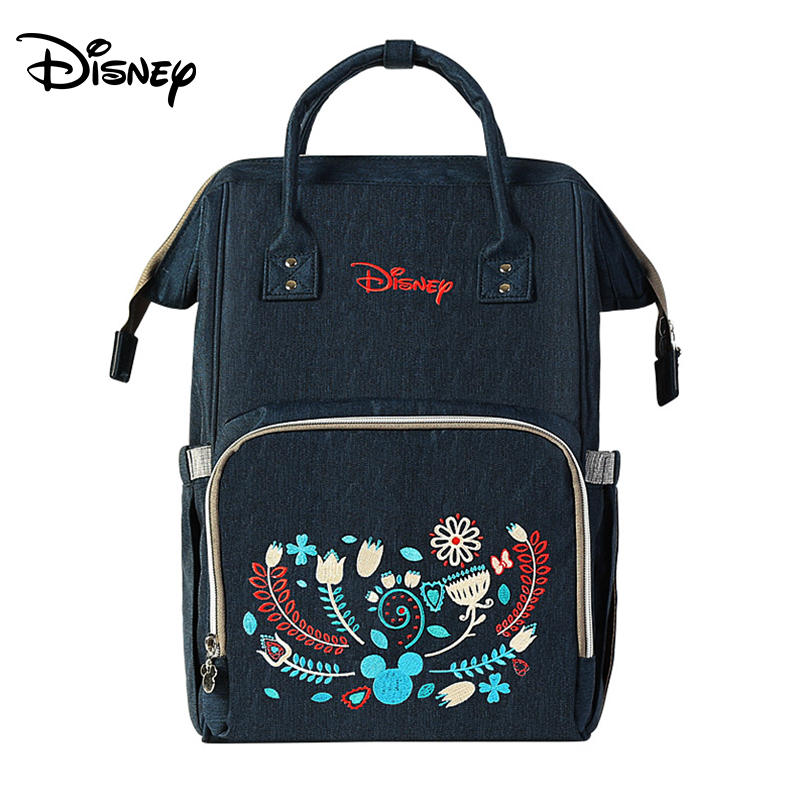 Disney Oxford Insulation Bags Minnie Mickey Backpack Multifunction Large Capacity Baby Diaper Bag Baby Stroller Travel Mummy Bag