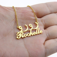 Custom Name Necklace Personalized Double Arabic Nameplated Stainless Steel Chain Customize Women Fashion Jewelry Bijoux Femme