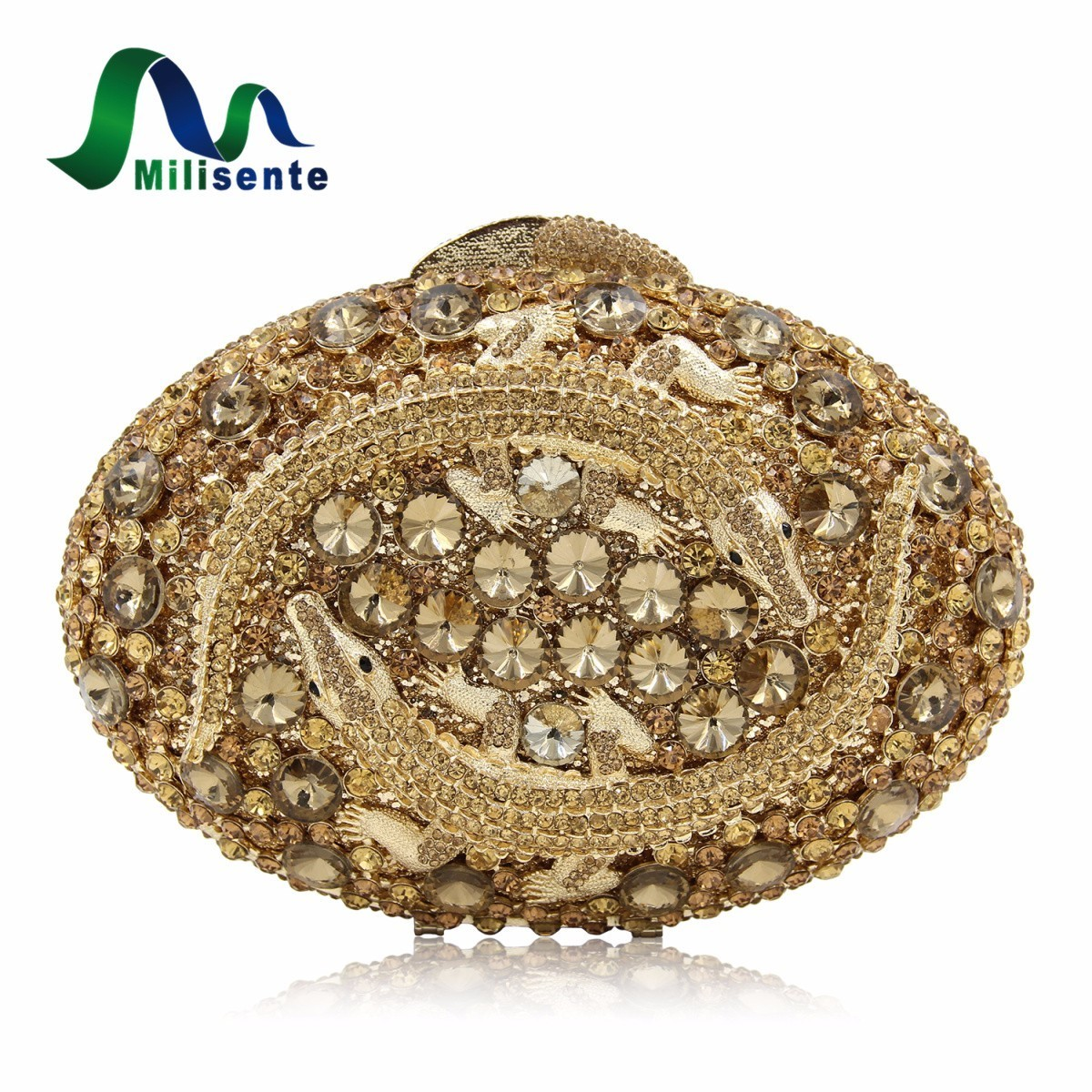Milisente Women Luxury Crystal Clutch Evening Bag Two Crocodile Clutches Bag Hollow Out Party Purses Dark Gold milisente high quality luxury crystal evening bag women wedding purses lady party clutch handbag green blue gold white