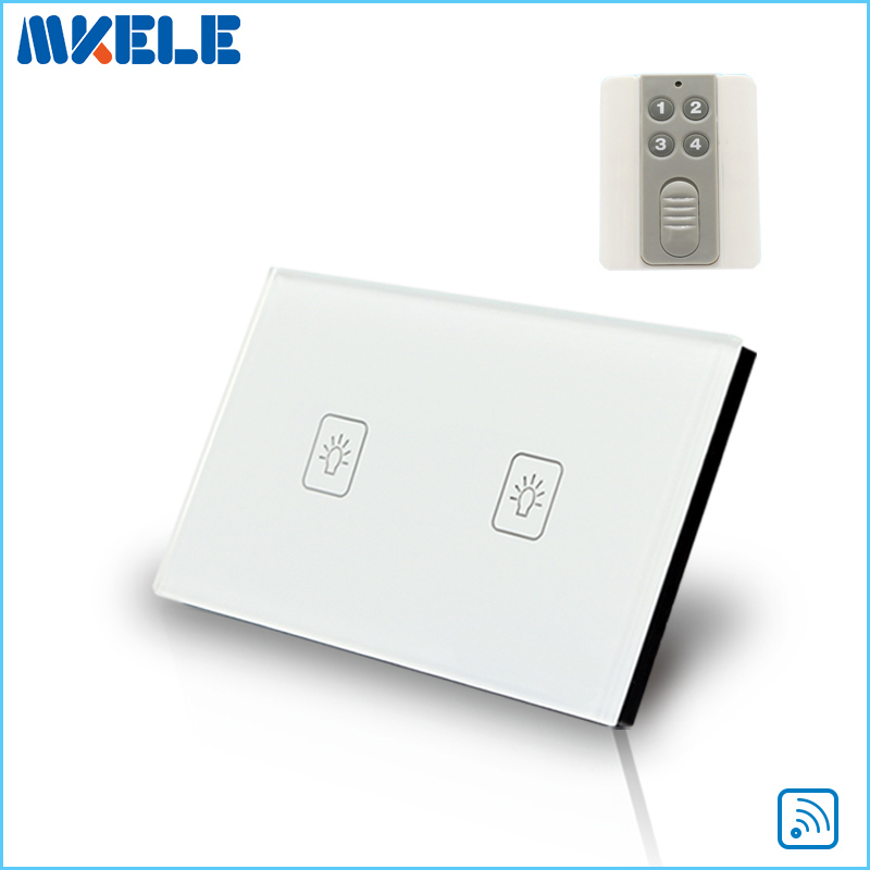 Remote Touch Switch US Standard 2 Gang 1 way RF Remote Control Light Switch White Crystal Glass Panel with Remote control 2017 us standard wireless remote control 3 gang 1 way wall light touch switch white crystal glass panel rf 433mhz ac 220v