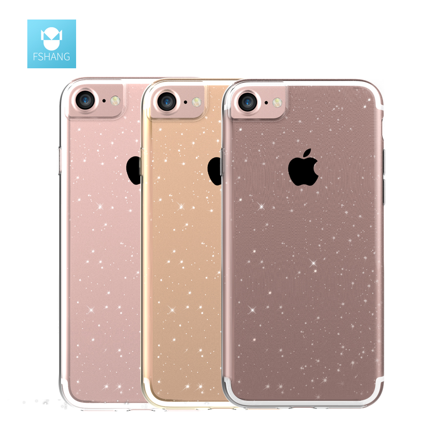 FSHANG Shining for iphone 7 Case Glitter Ultra Thin Slim Transparent Silicone Soft