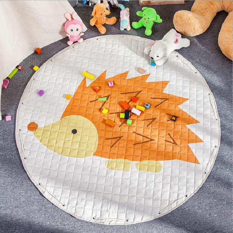 Lovely Animal Dinosaur Hedgehog Mushroom Skidproof Baby Play Mats Rug Carpet Toys Storage Bag Nordic Kids Room Decor Photo Props