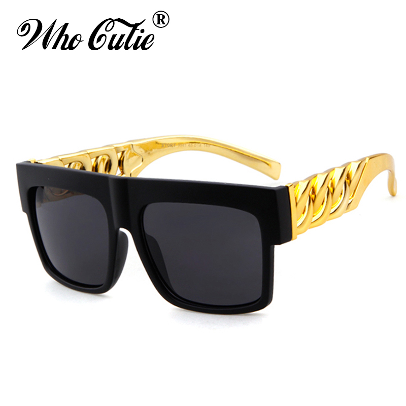 WHO CUTIE Kim Kardashian Sunglasses Men Women Brand Designer Beyonce Celebrity Hip Hop Flat Top Retro Gold Frame Sun Glasses OM1