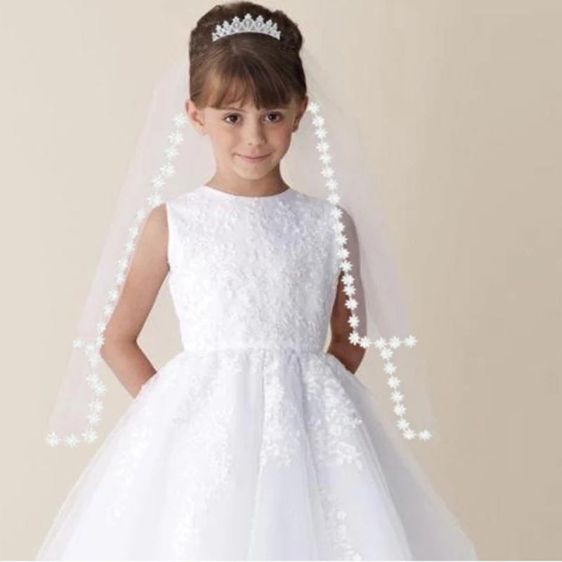 2019 New White Ivory Kids Girls First Communion Veils Tulle With Comb Applique Edge Wedding Flower Girl Veil Voile Mariage Fille