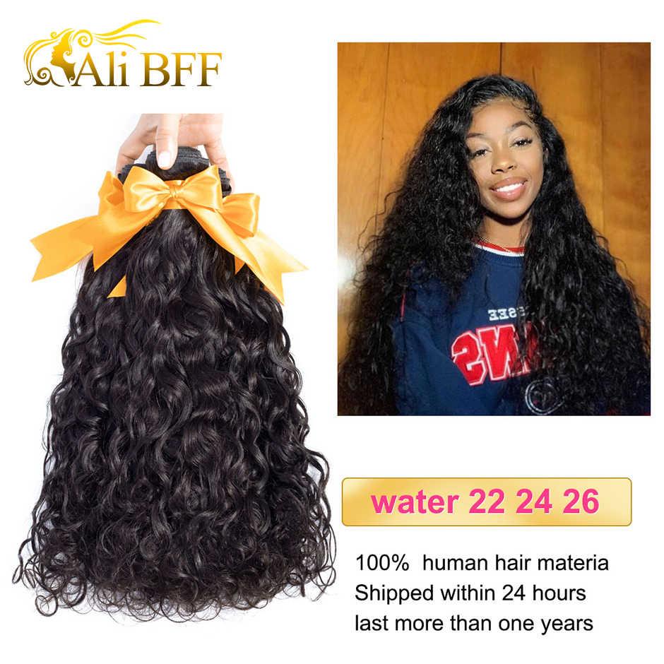 ALI BFF włosy brazylijski Water Wave wiązki z zamknięciem Remy włosy czołowa koronki z wiązek Deal ludzkich wiązki włosów z frontal