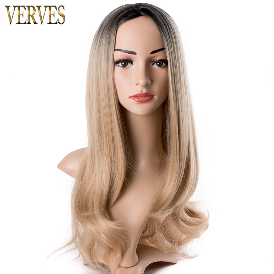 VERVES ombre synthetic blonde wigs 26 inch long wavy Heat Resistant women wigs free shipping cosplay with hairnet