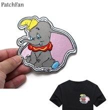 Patchfan слон Дамбо мультфильм железные нашивки одежда para diy вышитые значки швейная аппликация Лоскутные наклейки A0751