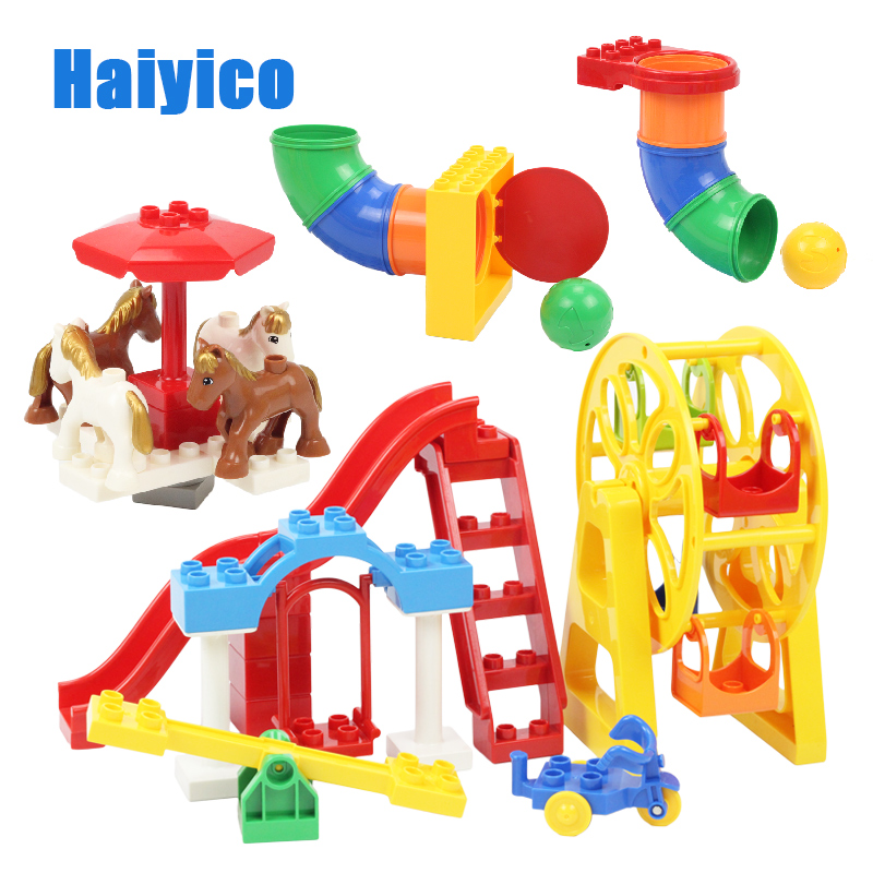 Park Swing Slide Pipeline Playground Carrousel Big Building Blocks Assemble Children Toys Bricks Gift Compatible With Duplo Sets
