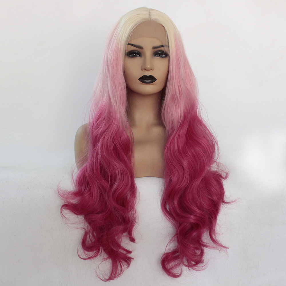 V'nice Blonde Ombre Pink Lace Front Wig Synthetic Long Body Wave Wavy Fancy Female Wigs Middle Parting Light Brown Swiss Lace