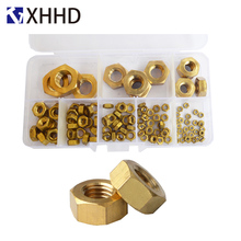 все цены на Brass Hex Nut Metric Hexagonal Threaded Copper Hexagon Nuts Set Assortment Kit Box M2 M3 M4 M5 M6 M8 M10 M12 онлайн