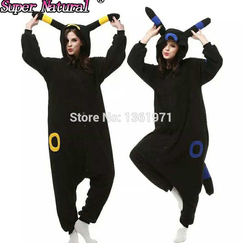 HKSNG Kigurumi Fleece Pokemon Black Blue Umbreon Espeon Cartoon Footed Onesies Animal Pajamas Cosplay Costumes On Sale