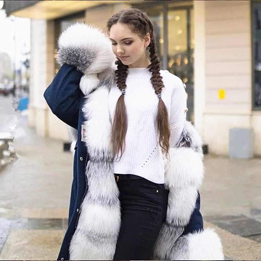 TOPFUR 2019 New Fashion Winter Female Long Jeans Parka Coats Real Fur Parka For Women Fox Fur Parka Full Sleeves Lapel Collar