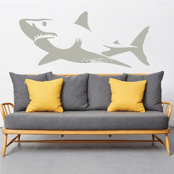 Most Popular Home Decor Truculent Great Shark Wall Sticker Living Room Kids Room Decorative Vinyl Removable Wall Decor SA738 image