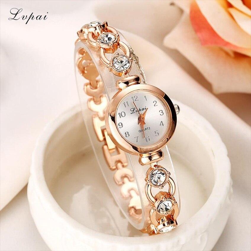 Lvpai 2018 Watch Women Gold Vintage Luxury Clock Women Bracelet Watch Ladies Brand Luxury Stainless Steel With Rhinestones Z20