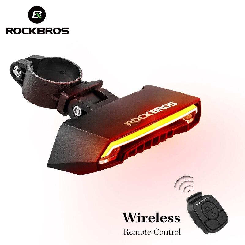 ROCKBROS Bicicleta USB Luz Da Cauda Recarregável Luz LED Luz de Advertência Luzes Traseiras Ciclismo Inteligente Controle Remoto Sem Fio do Sinal da Volta