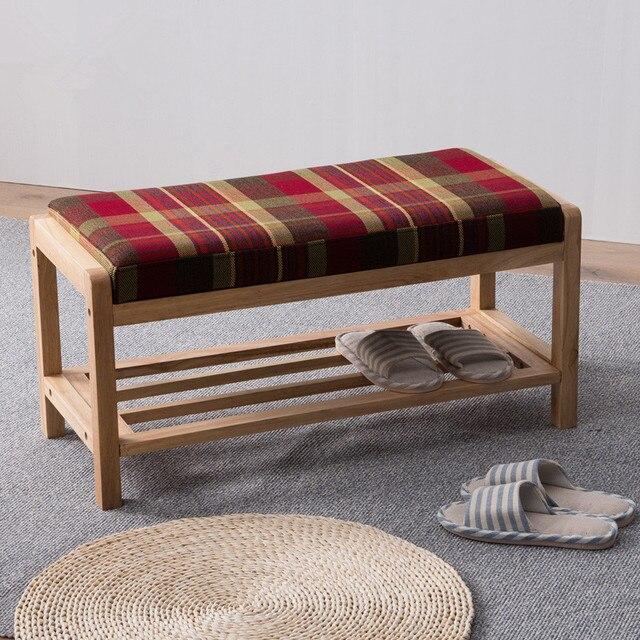 moderne bois tag re chaussures de stockage organisateur et couloir banc avec coussin salon. Black Bedroom Furniture Sets. Home Design Ideas