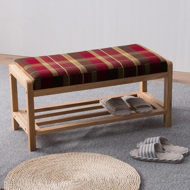Moderne Holz Schuh Rack Lagerung Organizer U0026 Flur Bank Mit Kissen Wohnzimmer  Möbel Schuh Regal Halter
