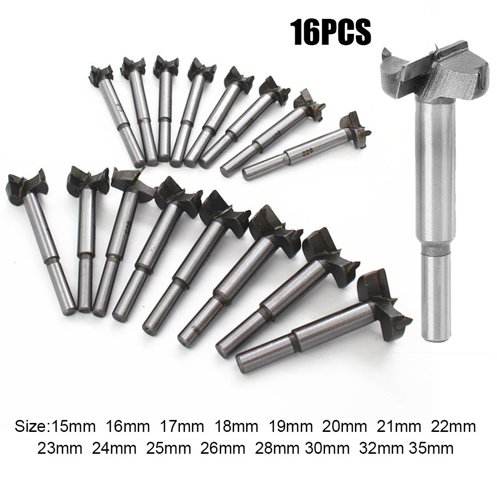16Pcs Set 15 35mm Auger Drill Bit Set Hole Opener for Woodworking Hole Saw Wooden Wood Cutter Hand Tools in Drill Bits from Tools
