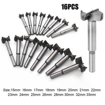 цена на 16Pcs/Set 15-35mm Auger Drill Bit Set Hole Opener for Woodworking Hole Saw Wooden Wood Cutter Hand Tools