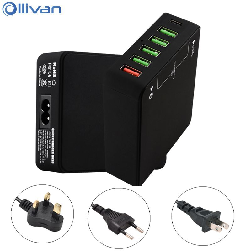 Ollivan 6 Ports USB Type C charger for iphone QC Quick Charge 3.0 Type-c USB charger wall charger EU US UK Type phone accessorie