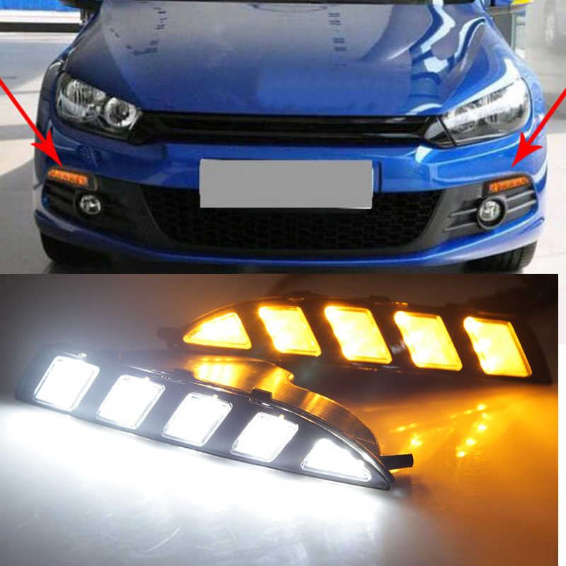 For Volkswagen Scirocco 2010- 2015 Turn Yellow Signal Style Relay Waterproof 12V Car LED DRL Daytime Running Light Daylight