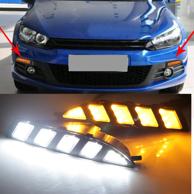 For Volkswagen Scirocco 2010- 2015 Turn Yellow Signal Style Relay Waterproof 12V Car LED DRL Daytime Running Light Daylight For Volkswagen Scirocco 2010- 2015 Turn Yellow Signal Style Relay Waterproof 12V Car LED DRL Daytime Running Light Daylight