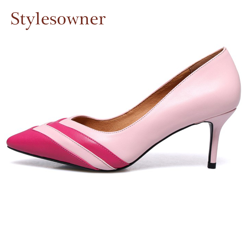 Stylesowner fashion mixed color pointed toe high heel shoes for spring women pumps shallow all match dress shoes stilettos heelsStylesowner fashion mixed color pointed toe high heel shoes for spring women pumps shallow all match dress shoes stilettos heels