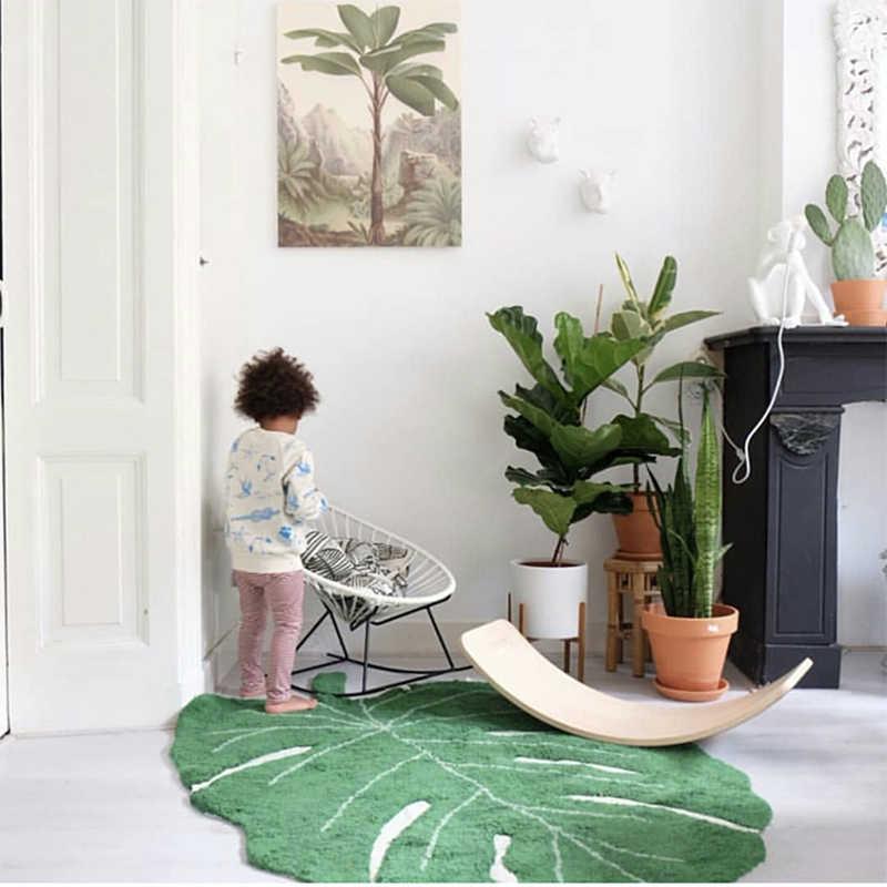 Simanfei 2019 Новый INS листьев форма хлопок одеяло Nordic детей Домашний Декоративный Ковер двери Коврики Подставки для фотографий коврик с рисунком листа