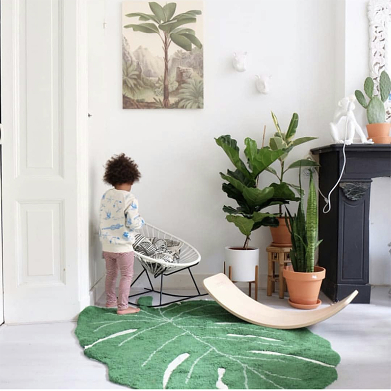 Simanfei 2019 New INS Leaf Shape Cotton Blanket Nordic Children Home Decoration Carpet Door Mat Photography Props Leaf Mat in Carpet from Home Garden