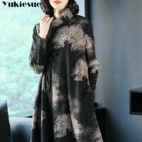 printed maxi dress elegant bodycon dresses womens Plus size long sleeve a line loose turtleneck 2018 autumn midi dresses female