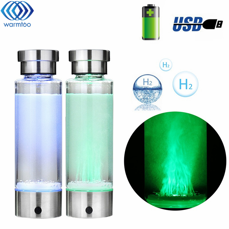 Intelligent Hydrogen Rich Water Bottles Ionizer Portable USB Rechargeable Glass Maker Ionizer Generator 350ML Super Antioxidants 260ml rechargeable rich hydrogen water generator electrolysis energy hydrogen rich antioxidant orp h2 water ionizer glass bottle