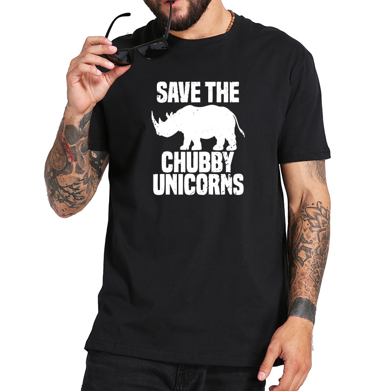 Rhino   T     Shirt   Funny Joke   T  -  shirts   Men Save Chubby Unicorn Short Sleeve Tee Black White Casual Tops Streetwear US Size