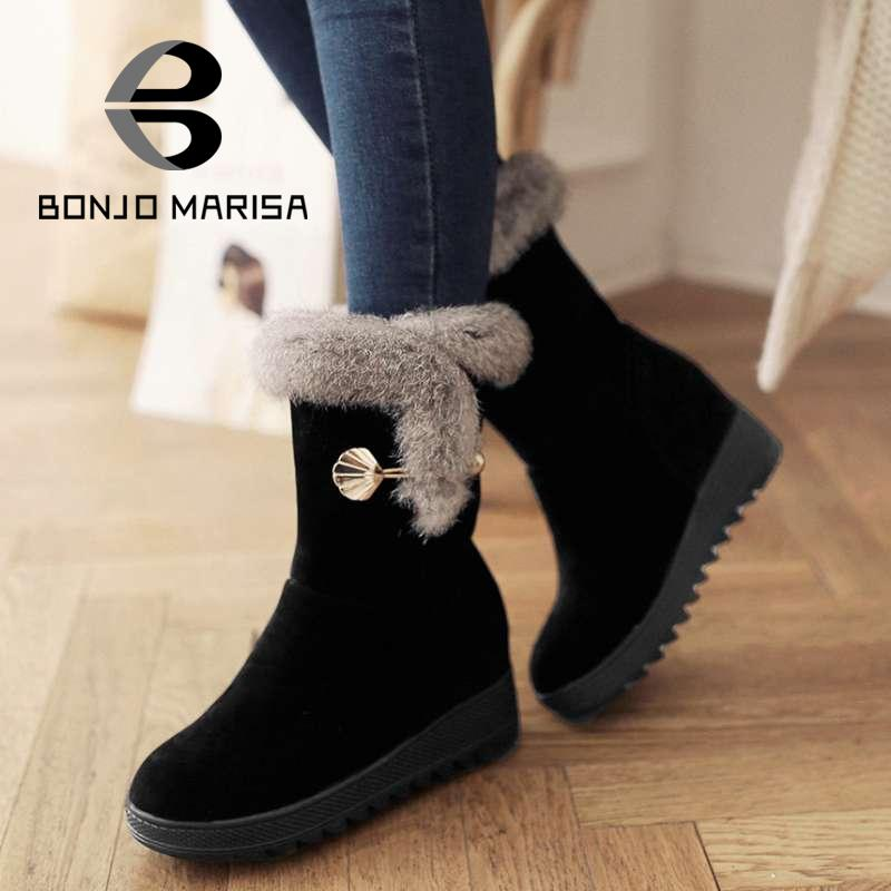 ФОТО Mid-Calf Boots 2015 Winter Warm Fur Shoes Snow Boots Solid Round Toe Platform Shoes Increasing High Heels Casual Party Shoes